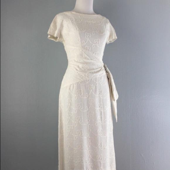 Linen Wedding Dress.Beautiful Vintage 1950s White Linen Wedding Dress